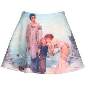 ROMWE Renaissance Painting Scuba Mini Skirt